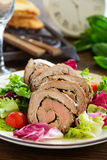 Roast beef with pesto Royalty Free Stock Images