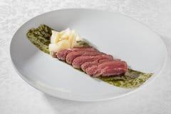 Roast beef with pesto sauce Stock Photography