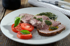 Roast beef with pesto Royalty Free Stock Photo
