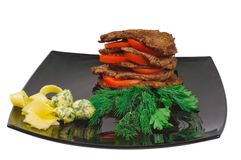 Roast beef on a plate Royalty Free Stock Photo