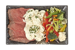 Roast beef with potato salad and vegetables Royalty Free Stock Photo