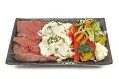 Roast beef with potato salad and vegetables Royalty Free Stock Photography