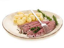Roast beef with potatoes Royalty Free Stock Photography