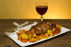 Roast beef with potatoes Royalty Free Stock Photo
