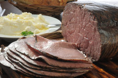 Roast beef and potatoes Royalty Free Stock Photos