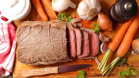 Roast beef. Sauce and ingredient royalty free stock photos