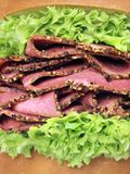 Roast beef sandwich. Close up of beef pastrami sandwich Stock Images