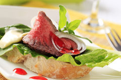 Roast Beef Sandwich. Detail of open faced roast beef sandwich royalty free stock photography