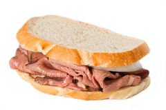Roast Beef Sandwich. A Roast beef sandwich isolated on white stock image