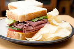 Roast beef sandwich with all the fixings. Roast beef sandwich, with all the fixings Stock Image