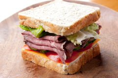 Roast beef sandwich with all the fixings Royalty Free Stock Photos