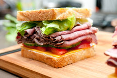 Roast beef sandwich with all the fixings Stock Images