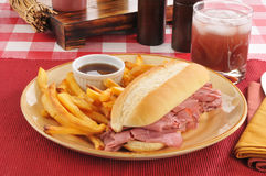 Roast beef sandwich and fries Stock Photo