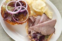Roast beef sandwich on a bun Stock Images