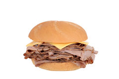 Roast beef sandwich with cheese. Isolated Roast beef sandwich with cheese Stock Photography