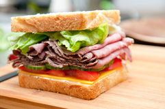 Roast beef sandwich with cheese and tomato Stock Images