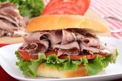 Roast Beef Sandwich Closeup Stock Photo