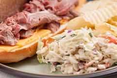 Roast beef sandwich and cole slaw Royalty Free Stock Photo