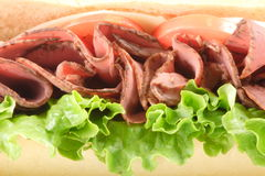 Roast beef sandwich front. Fresh flavorful roast beef sandwich Stock Images