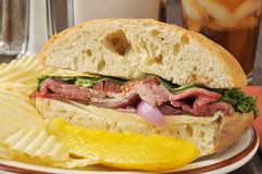 Roast beef sandwich Royalty Free Stock Images