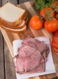 Roast Beef Sandwich Ingedients Stock Photos