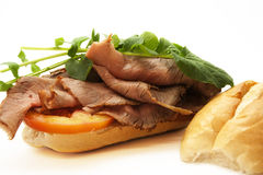Roast beef. Sandwich isolated on white Royalty Free Stock Photo