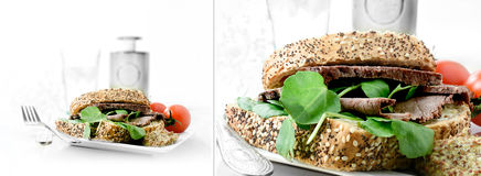 Roast Beef Sandwich Montage Royalty Free Stock Photography