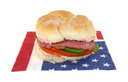 Roast beef sandwich on patriotic napkin Royalty Free Stock Image