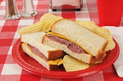 Roast beef sandwich on a picnic table Royalty Free Stock Photos