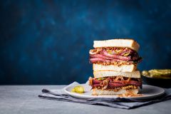 Roast beef sandwich on a plate with pickles. Copy space. Stock Images