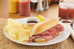Roast beef sandwich with potato chips Royalty Free Stock Photo