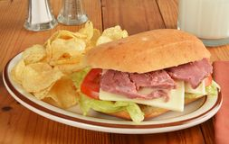 Roast beef sandwich with potato chips Stock Images