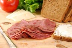 Roast beef sandwich preparation Royalty Free Stock Photo