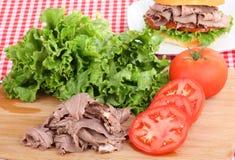 Roast Beef Sandwich Preparation Royalty Free Stock Image