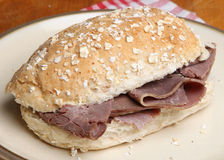 Roast Beef Sandwich Roll Royalty Free Stock Photo