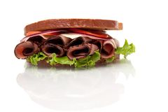 Roast beef sandwich on rye bread Stock Photos