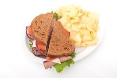 Roast beef sandwich on rye bread Stock Image