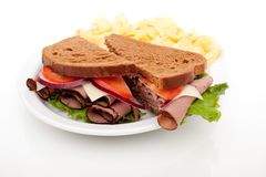 Roast beef sandwich on rye bread Royalty Free Stock Photos