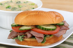 Roast Beef Sandwich and Soup Stock Photos