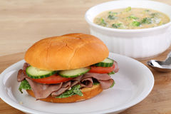 Roast Beef Sandwich and Soup Royalty Free Stock Photography