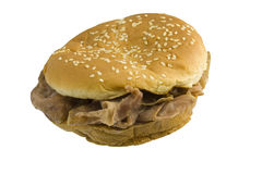 Roast beef sandwich on white Royalty Free Stock Image