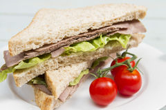 Roast beef sandwich. A roast beef sandwich on wholemeal bread Royalty Free Stock Image