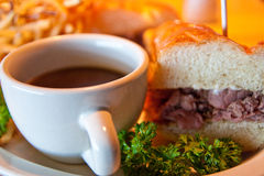 Roast Beef Sandwidh and Au Jus Royalty Free Stock Photography