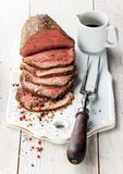 Roast beef with sauce royalty free stock photography