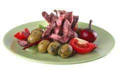 Roast beef slice close up Stock Photo