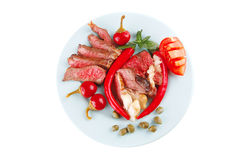 Roast beef slices on dish Stock Photos