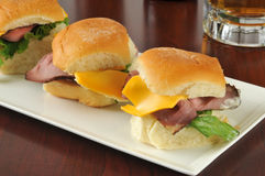 Roast beef sliders and beer Stock Image