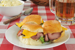 Roast beef sliders and beer Royalty Free Stock Photography