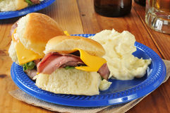 Roast beef sliders and beer Royalty Free Stock Photo