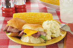 Roast beef sliders on a picnic table Stock Images